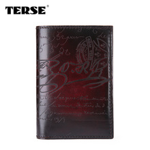 TERSE_Handmade Leather Men Wallet Calligraphy Script Men Purse Luxury Style Custom Logo Wallet Tanning Process Manual Color OEM
