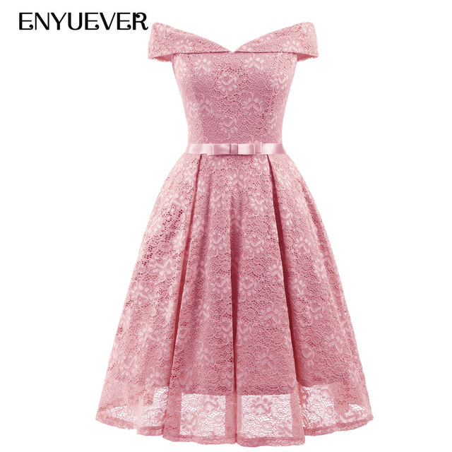 Enyuever Short Lace Dress Pink 2018 Robe Vintage 50s Rockabilly Off Shoulder  Casual Tunic Elegant Evening Party Dress Summer Bow 425effd93992