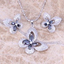 Attractive Butterfly Rainbow Cubic Zirconia White CZ Silver Earrings Pendant Necklace Fashion Jewelry Sets S0732(China)