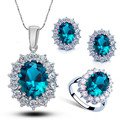 Silver Plated Rhinestone Crystal Queen Sapphire Bridal Wedding Jewelry Sets Necklace Ring Earrings Makeup Tool Kit