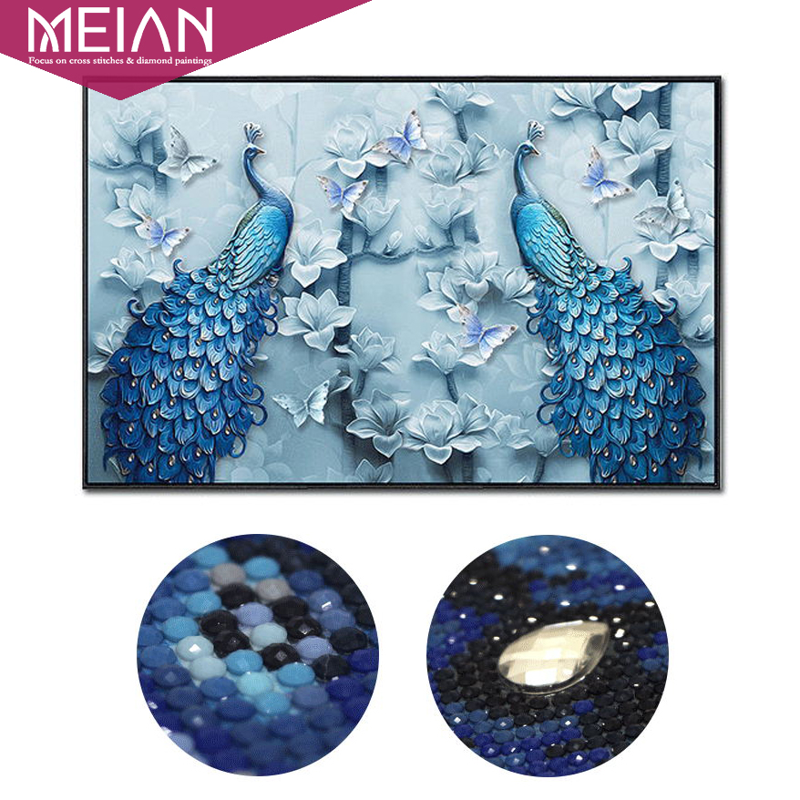 Meian Special Shaped Peacock Lovers DIY Diamond Painting Diamond Embroidery Full Diamond Mosaic Bead Picture Home