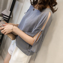 2019 Summer Korean-Style Slit Bow Lace-up Sleeve Chiffon Shirt Female Was Thin Loose Wild Base Layer Top bow embellished slit bell sleeve tee