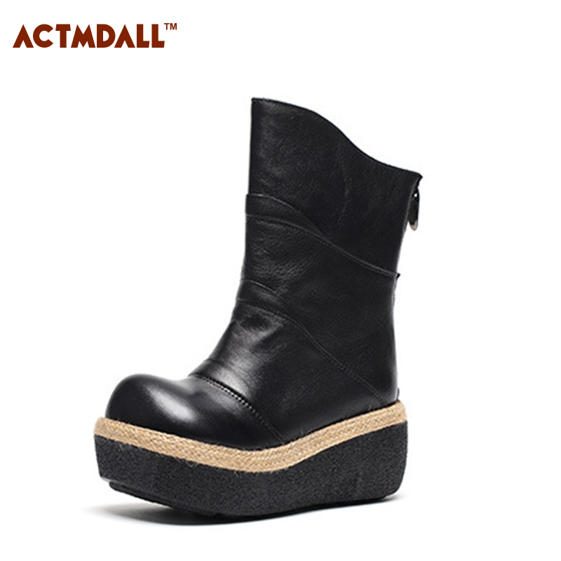 Thick Bottom Women Boots Round Head High Heel Mid Calf Female Boots Platform Wedges Shoes 7cm For Winter Spring Autumn spring autumn women thick high heel mid calf boots platform woman short boots high heels shoes botas plus size 34 40 41 42 43