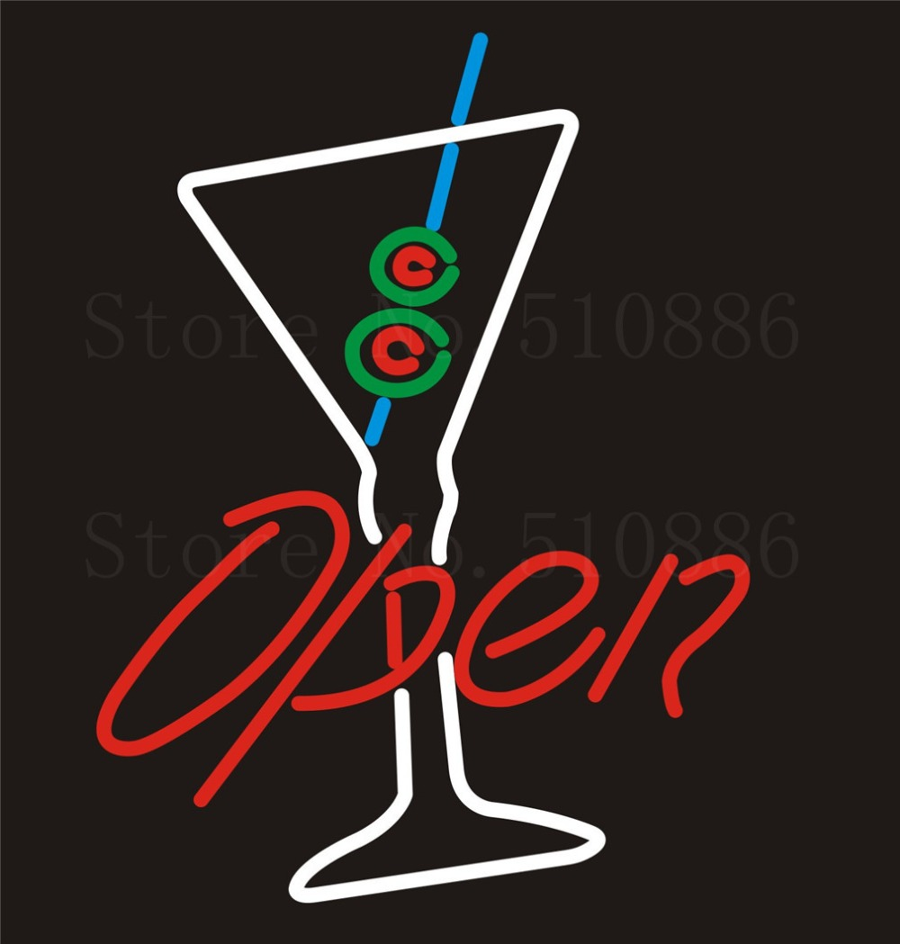 NEON SIGN For Open Beer Wine Real GLASS Tube BAR PUB Restaurant Signboard store display Decorate Store Shop Light Signs 17*14  цены