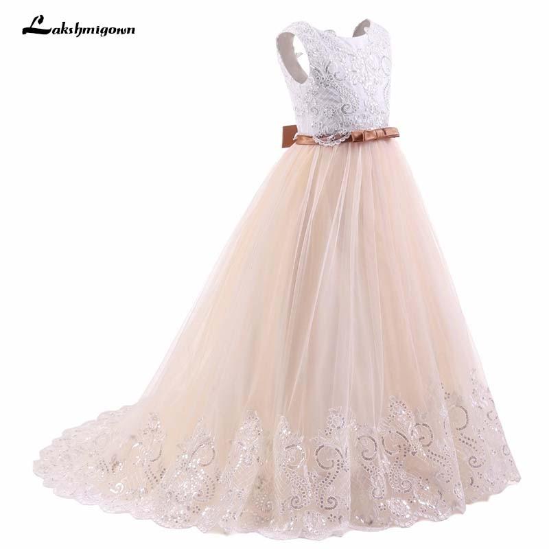 Champagne White   Flower     Girl     Dresses   Sleeveless Ball Gown Kids Evening Gown vestido comunion Prom   Dresses     Girls