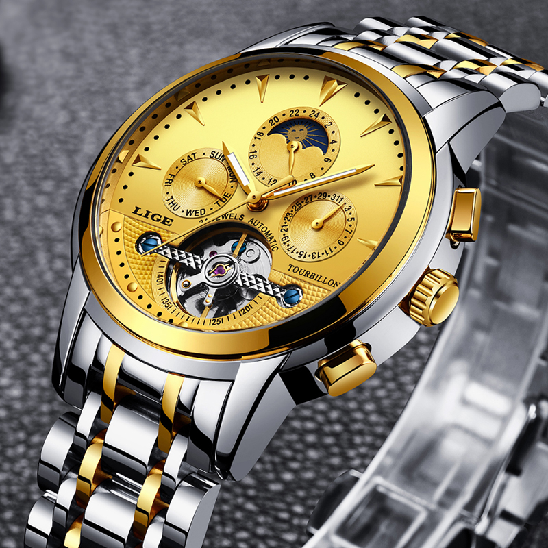 LIGE Mens Watches New Top Luxury Brand Automatic Mechanical Watch Mens Military Full Steel Waterproof Clock Relogio Masculino wrist switzerland automatic mechanical men watch waterproof mens watches top brand luxury sapphire military reloj hombre b6036