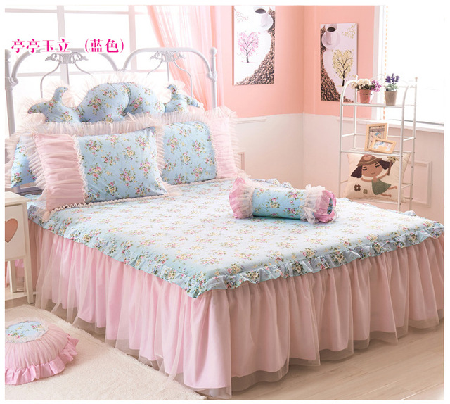 Reactive Printing Flower Bed Linen Cotton Bed Skirt Full Twin Queen