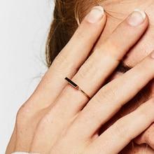 Laramoi anillos de barra pequeños sencillos de Plata de Ley 925 para mujer, anillo de estilo coreano, amuleto, joyería, regalo para chicas, fiestas