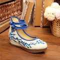 2017 Spring Summer New Women Pumps Old Beijing Cloth Shoes Embroidered Increased Slope Singles Shoes Size 34-40 SMYXHX-D0017