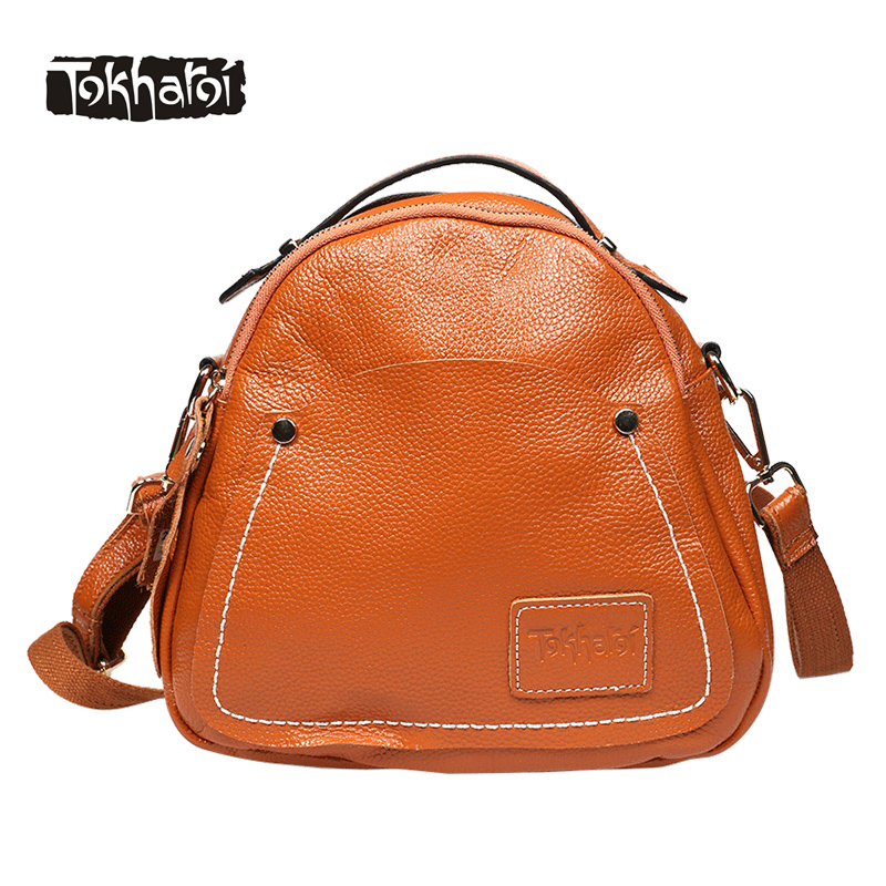 Tokharoi Brand Famous Women Genuine Cow Leather Bag National Flap Small Messenger Bag Zipper Button String Solid Crossbody Bags