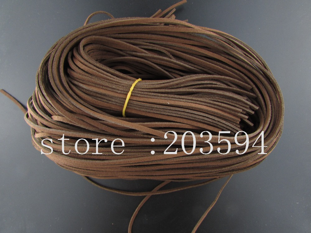 BGF2! 5 Meters 3x1.5mm Brown color Faux Suede Cord Leather Lace For Clothes Shoes Jewelry Making Findings 5M/lots