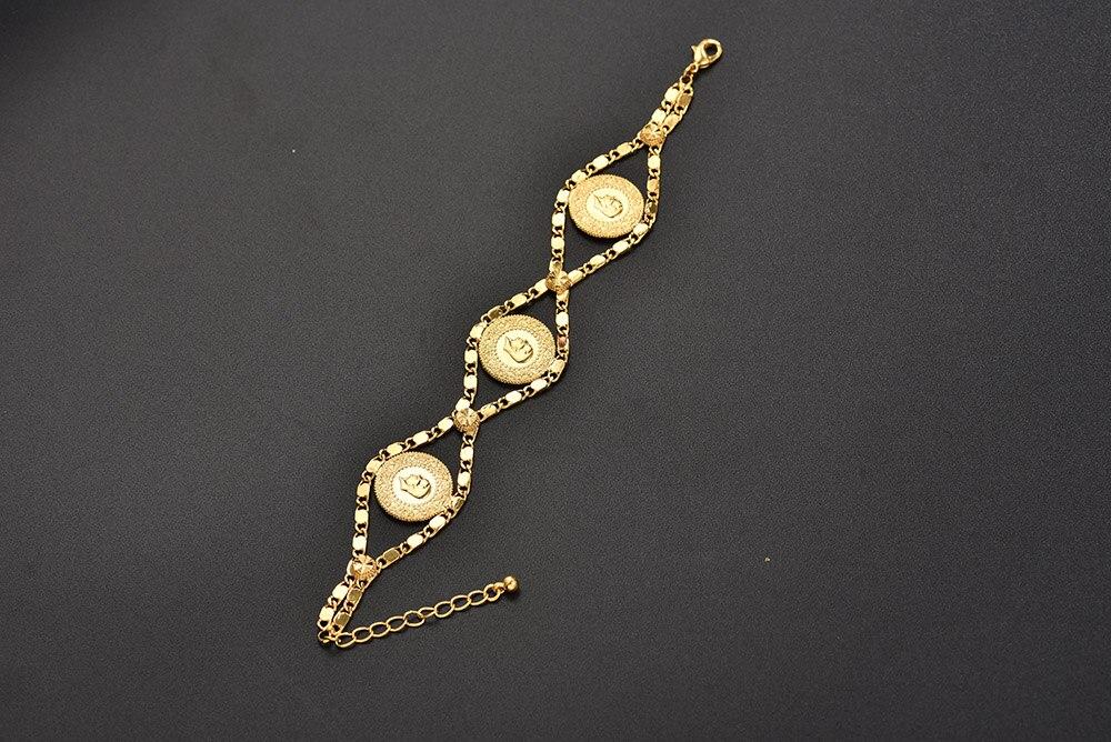 Length 24CM Turkey Coin Bracelet for Women Gold Color Turks Simgesi Osmanli Turasi Muslim Islam Bangle Arab Jewelry African