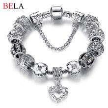 Fashion 925 Silver Heart Charm bracelet for Women DIY Beads Jewelry Fit Original pandora Bracelets Pulseira Gfit  PS3145
