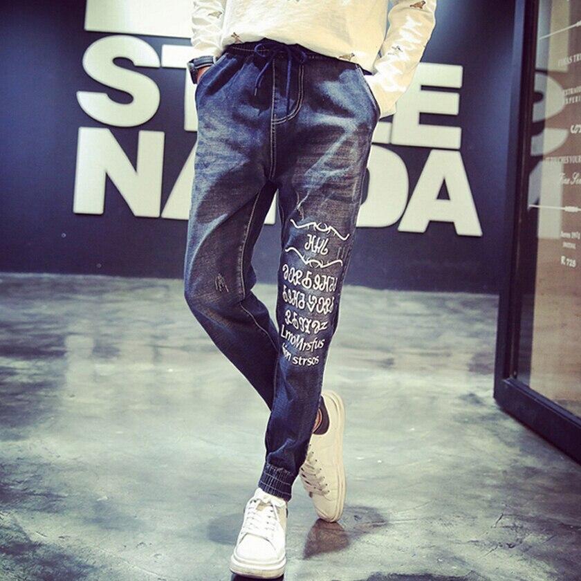 ФОТО 2016 Fashion Jeans Men High Quality 100% Cotton Men's Casual Elastic Waist Jeans Harem Pants Letter Printing Balmai Jeans Men
