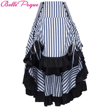 Belle Poque 2017 Summer Autumn Women Victorian Gothic Steampunk Skirt Sexy Striped Irregular Ruffles Vintage Party Punk Skirts