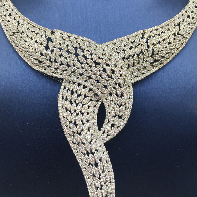 Nankiya Luxury Twist Plant Shape Women Nigerian Wedding Jewelry Sets African Costume Big 4pc Set Romantic Factory Price NC764 2