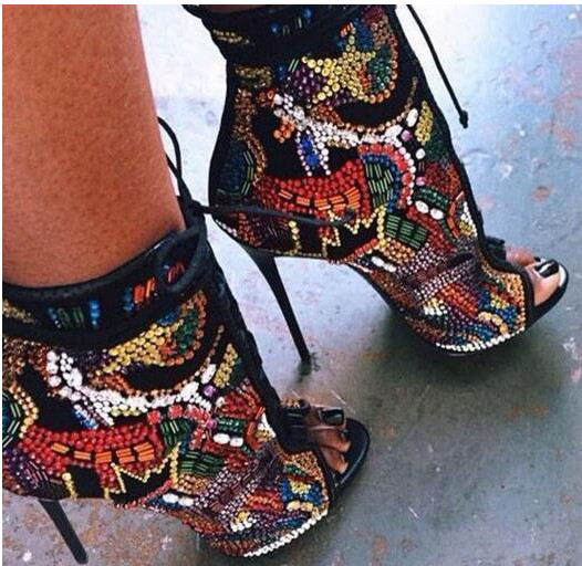 Multicolor Summer Crystal Covered Comic Open toe Lace up High Heel Ankle Boots Peep Toe Cut-outs Summer Sandal Boots Pumps woman beautiful royal blue wedges sandal summer sexy cut outs design charming tassels ankle lace up peep toe female party shoes