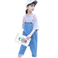 2019 New Toddler Girls Denim Overalls For Girls Jumpsuits Romper Trousers Letter Printed Kids Baby Cotton Jeans Trouser 4 13T