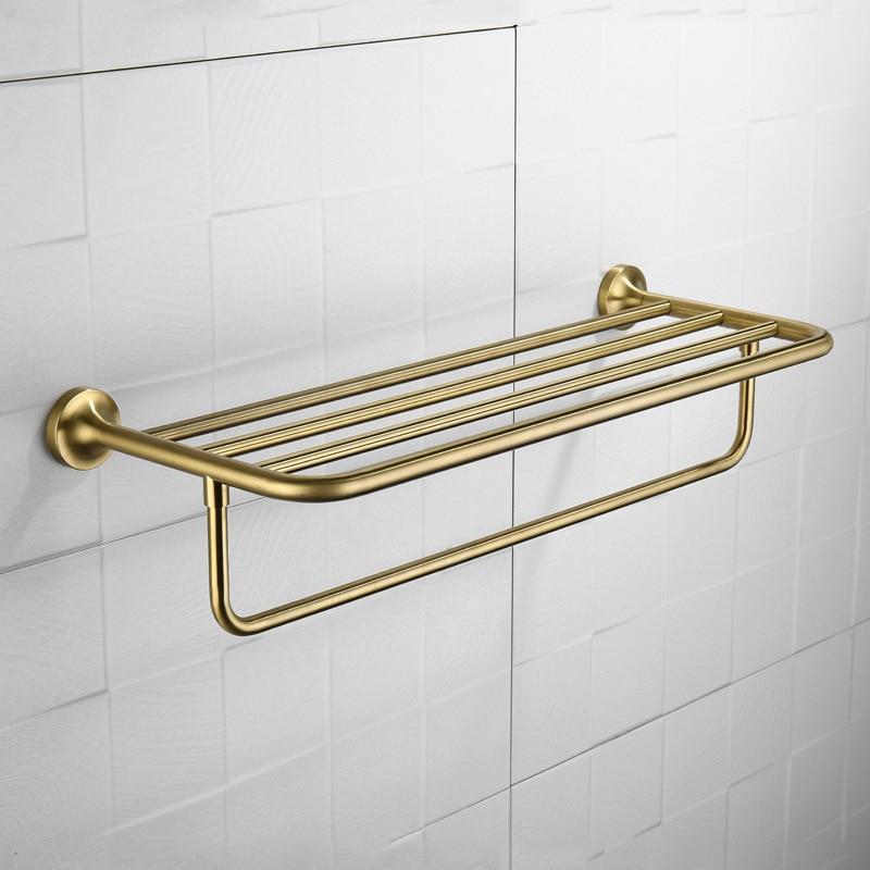 Нержавеющаясталь кисть отделка Ванная комната Полотенца стойки двойной Слои настенные золото Цвет круглый Ванная комната товары настенн