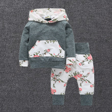 2018 Baby children spring and autumn new 2-piece suit set gray long-sleeved sweater hoodie + printing pants girls clothing
