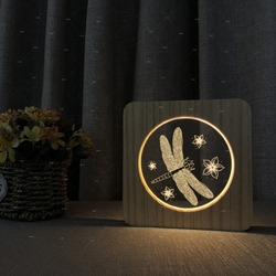 Ważka kwiat 3D drewniane akrylowe u nas państwo lampy jak dzień dziecka prezent dekoracja sypialni lampa stołowa oświetlenie