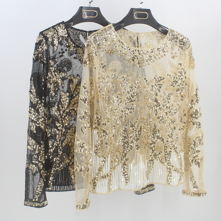 Luxury Spring Sexy Beading Sequin Shirt Top Long Sleeve Perspective Sheer  Gauze Mesh Lace Blouse Blusa 15122e9baf08