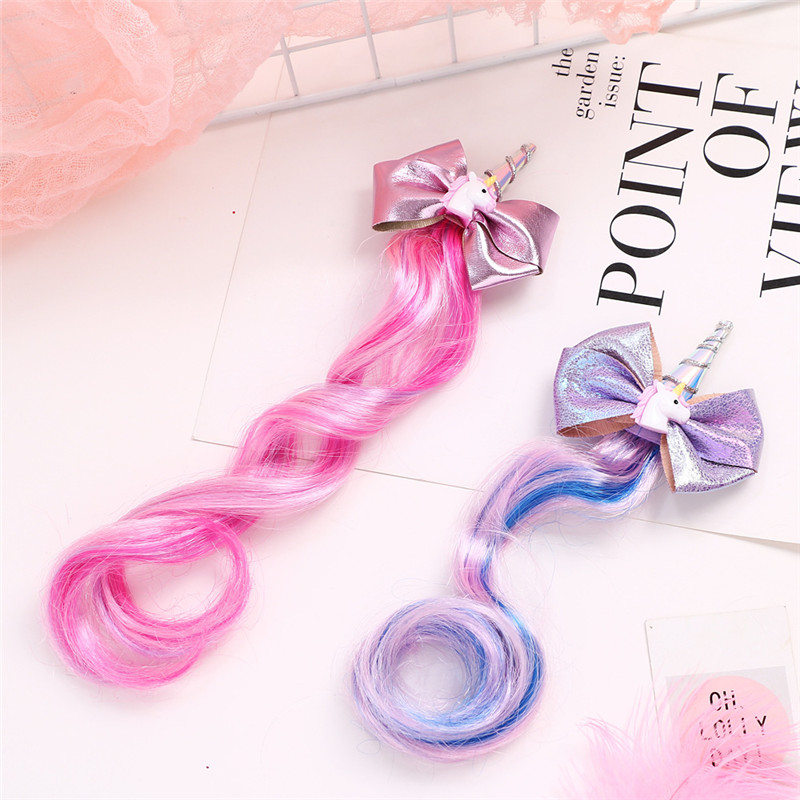 10pc/lot New Unicorn Hairpins Kids Cute Bow Hairgrips Shining Colored Wig Hair Clip Girl Christmas Cartoon Horse Party Barrette