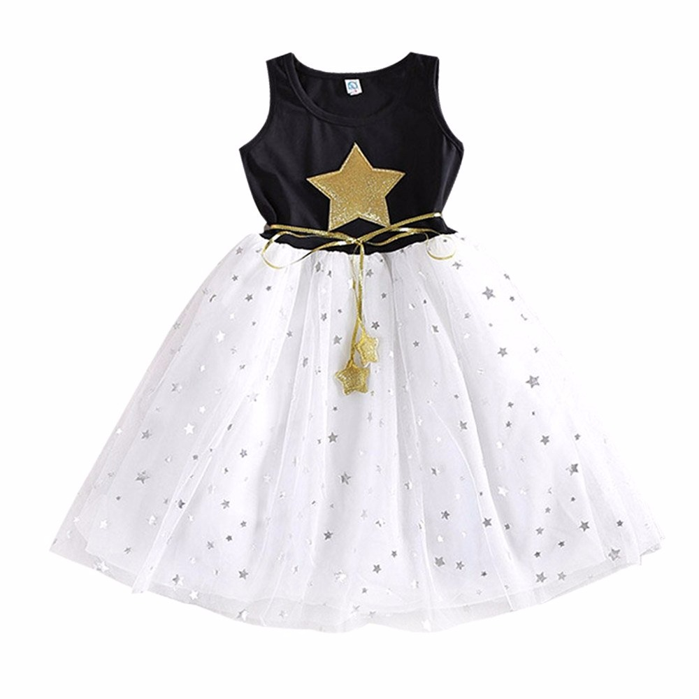 New Summer Style Girls Dress Sequin Star Black Childrens Princess Clothing 4 5 6 7 8 9 10 11 12 Year Kids Dresses for Girls summer 2017 new girl dress baby princess dresses flower girls dresses for party and wedding kids children clothing 4 6 8 10 year