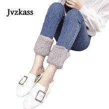 Jvzkass 2019 new rabbit fur jeans female winter plus velvet thickening straight denim pants pencil trousers Z273