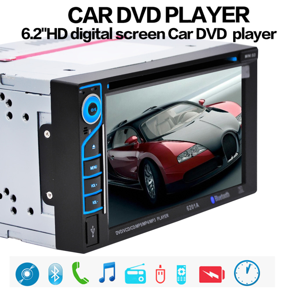 Cimiva 6.2 Inch TFT Audio DVD SB / SD Bluetooth 2-Din Car CD Player with Automatic Memory Play Car DVD Player 12V jojo 2 teachers guide audio cd