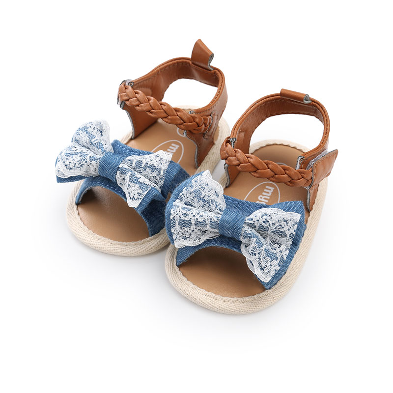 Hot Baby Shoes Baby Girl Sandals Summer Cotton Canvas Dotted Bow Baby Girl Sandals Newborn Baby Shoes Outdoor Play Beach Sandals