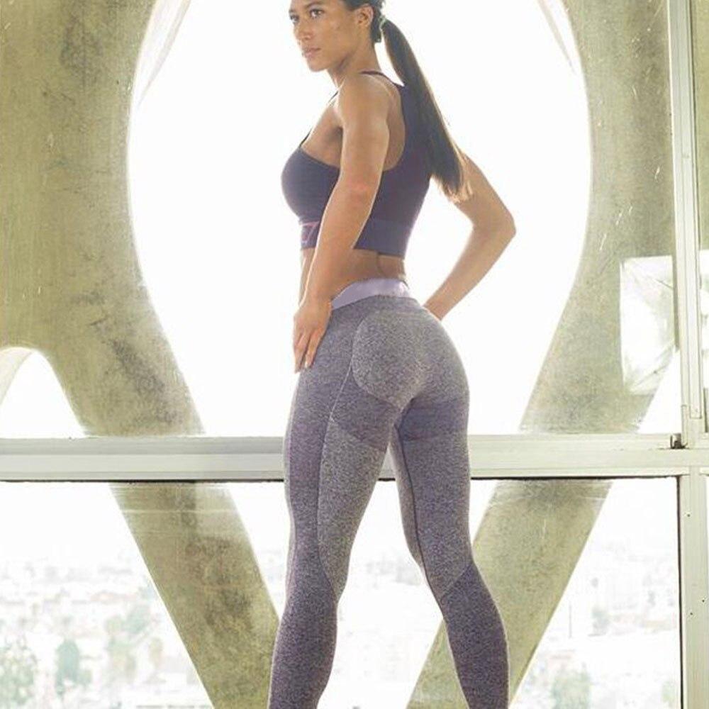 aa1bba7b49 Patch Color Waist Band Women Yoga Pants Sweat Longs Outdoor Gym