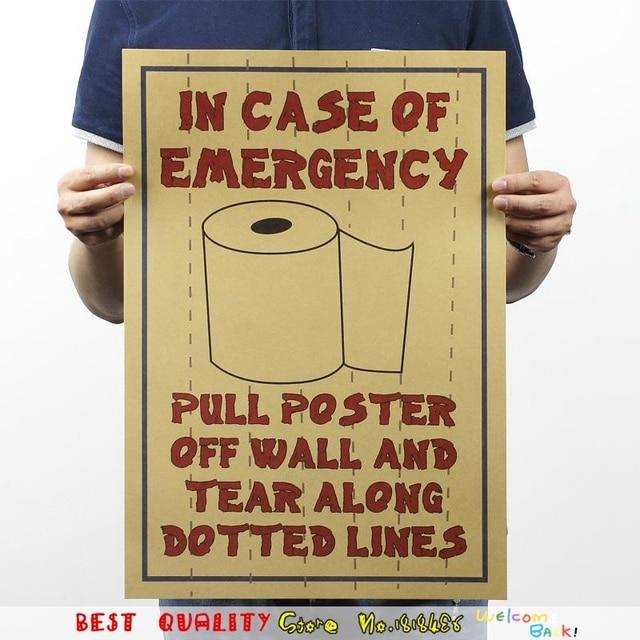 Vintage Reminder For Toilet Paper Kraft Waterproof Posters Wall ...