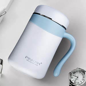 Image 5 - Pinkah 350ML 304 Stainless Steel Thermos Mugs Office Cup With Handle With Lid  Insulated Tea mug  Thermos Cup Office Thermoses