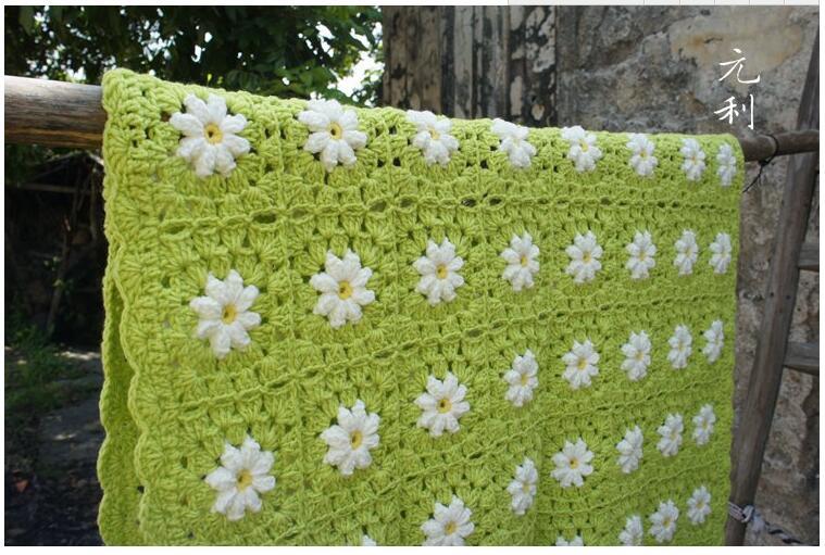 Handmade Crochet 80X120CM Daisy Green Blanket Flower Throw Coffee  Tablecloths Sofa Cover Home Cover Cloth(