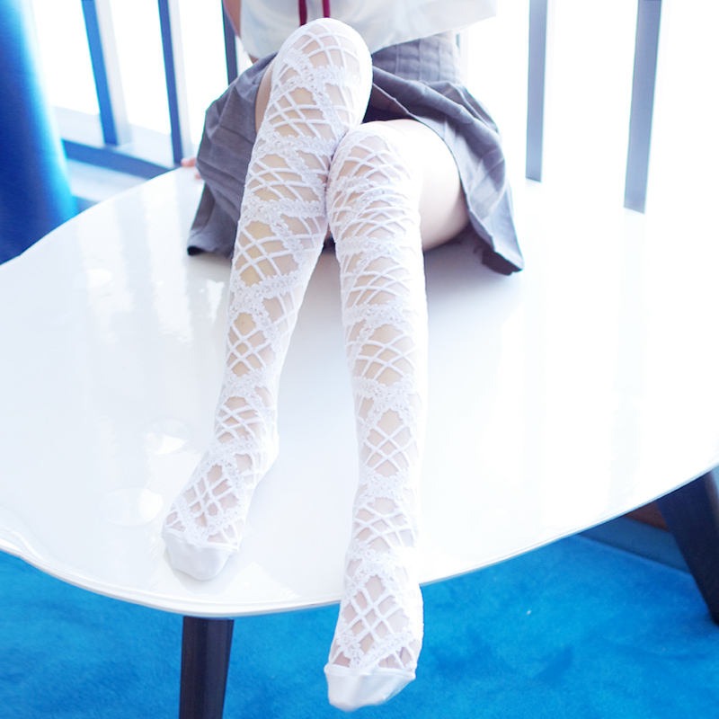 Sweet Hollow Out White/Black Gothic Stockings Thigh High Lace Long Summer Stockings