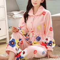 DoreenBow Women Sleepwear Winter Warm Pyjamas Female Pajamas Sets Plus Size Home Suits Sleep Flannel Pajamas
