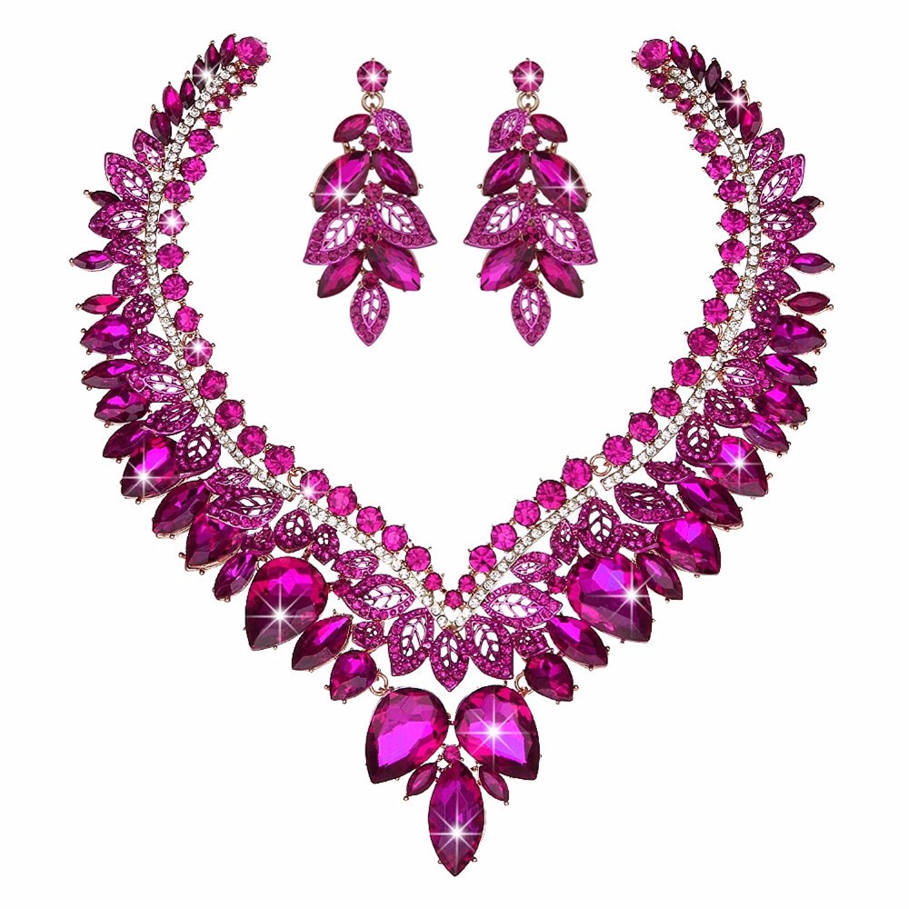 Uniquely high quality Crystal Jewelry sets bridal wedding necklace earrings golden plated fuchsia color Women party jewelry fashionable foot style gold plated crystal inlaid necklace golden