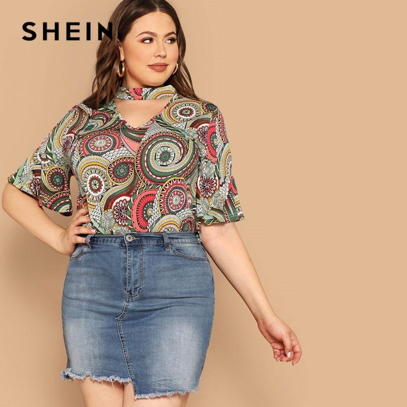 bd698195f6 SHEIN Plus Size Lady Casual Choker Neck Bell Sleeve Tribal T Shirt Women  Summer Half Sleeve Cut Out Geometric Print T-shirt Tops
