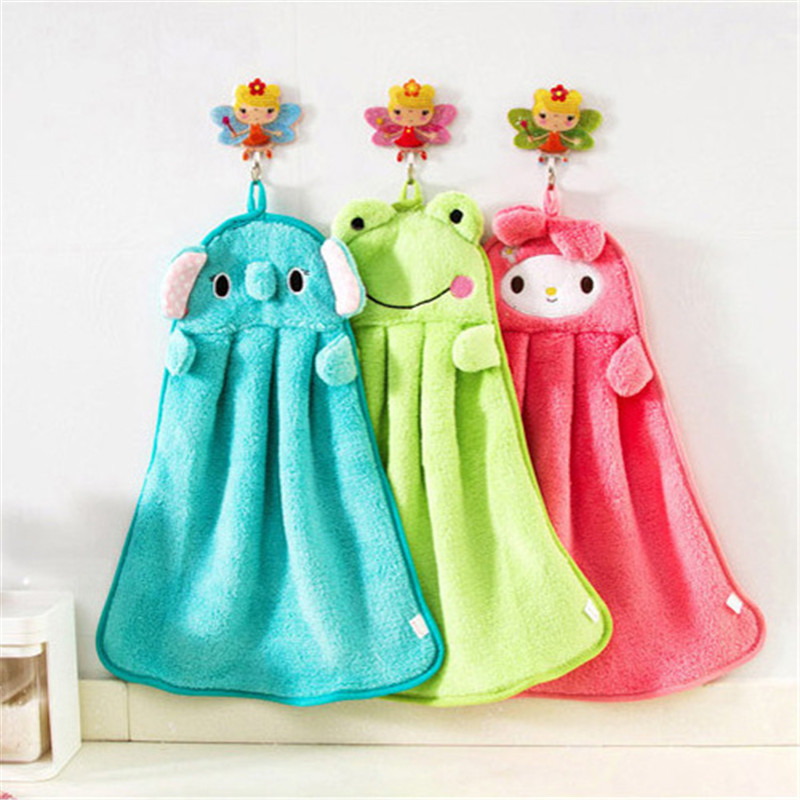Baby Nursery Hand Towel Toddler Soft Plush Cartoon Animal Wipe Hanging Bathing Towel baby bath towels For Children Bathroom