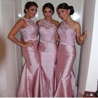 Custom Made One Shoulder Lace Bridesmaid Dresses Long Pink Satin Sleeveless Mermaid Wedding Party Dress Free Shipping