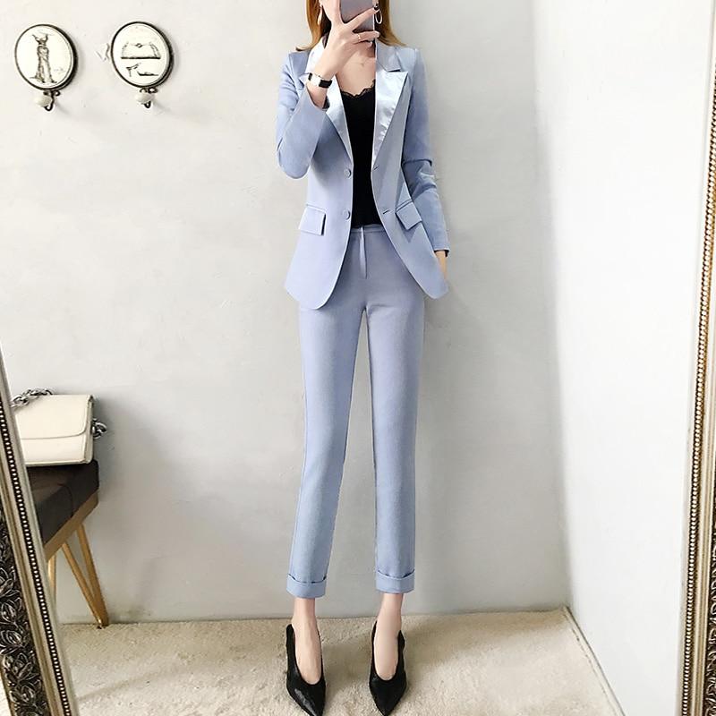 2019 las nuevas mujeres azul chaqueta pantalones trajes de Moda de Primavera de traje de corte Slim y lápiz pantalones de dos piezas de la Oficina señora profesional traje de - 3