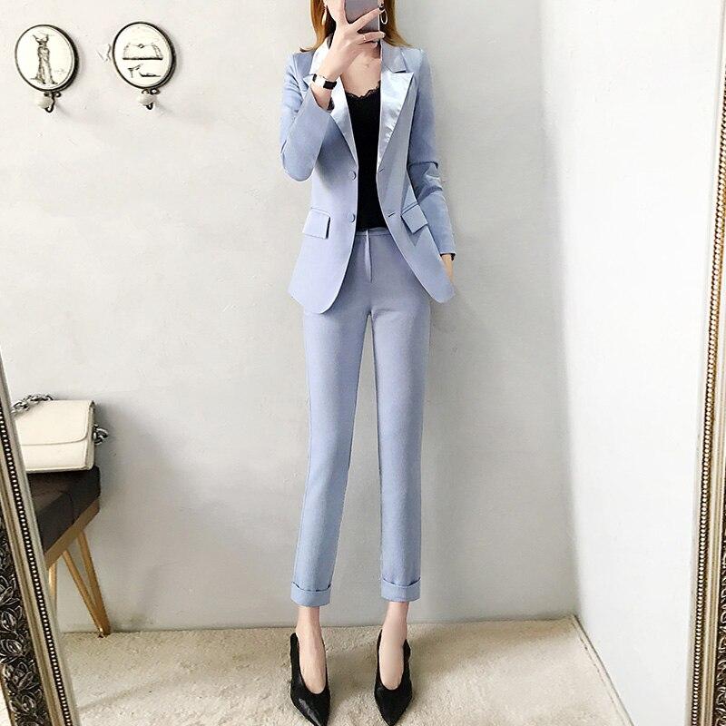 2019 nova calças ternos Jaqueta Blazer azul das mulheres moda primavera Fino terno & calças lápis two piece Escritório senhora terno profissional - 3