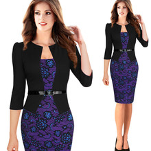 New Europe Womens Elegant Faux Twinset Belted Tartan Floral Lace Patchwork Wear to Work Business Pencil