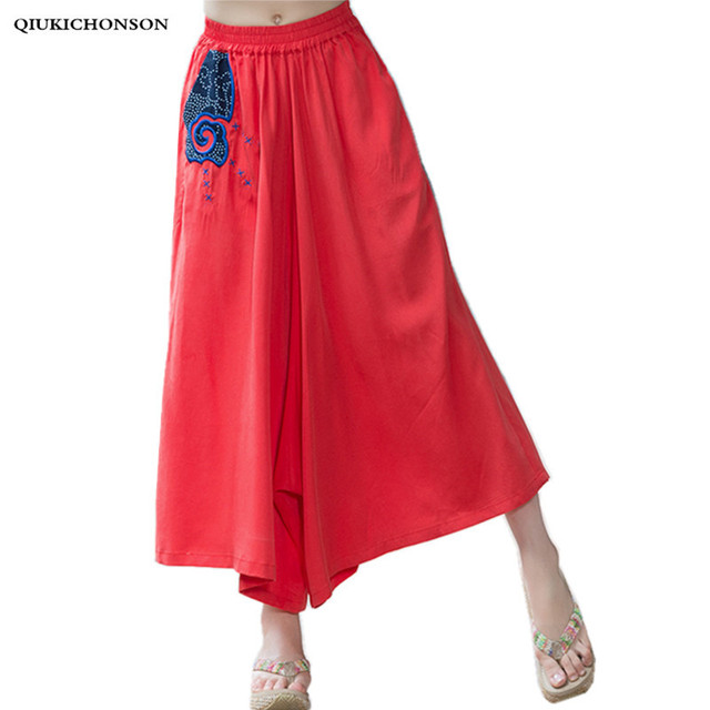 bda284e3e6 Palazzo Pants Women 2018 Spring Summer Chinese Style Vintage Embroidery  Cotton Linen Wide Leg Pants Women