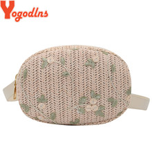 Yogodlns Straw Waist bag Girls Vintage Lace Flower Decor Women Summer Retro Waist Fanny Belt Pack Chest Shoulder Crossbody Bag(China)