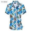 Homens Floral vestido 2016 Plus Size M-5XL Camisetas Masculinas homens algodão verão de manga curta Slim Fit sociais W1041