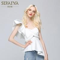 SIPAIYA Ruffles Sexy Off the Shoulder Blouses Women Shirt 2017 Summer Slim Irregular Blouse One Shoulder Shirt Tops White Black