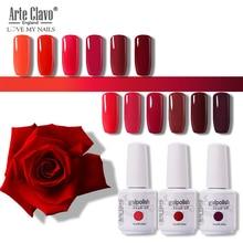 Arte Clavo LED Soak Off Gel Nail Polish 15ml UV Hybrid Gel Lak Red Colors Series DIY Nail Art Manicure Nails Primer Gel Varnish