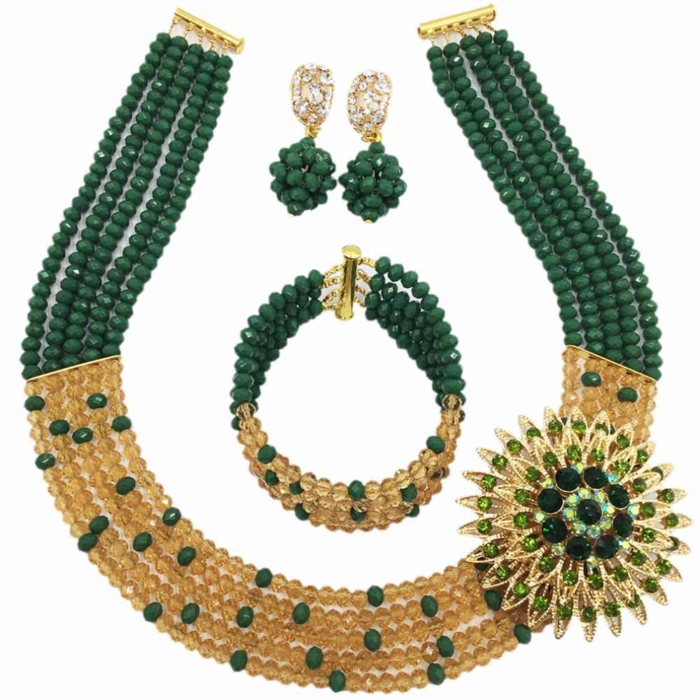 אופנה 5 שכבות חתונה ניגרית זהב ירוק כהה אטום 5L-ZJ018 עגילי שרשרת קריסטל סט תכשיטי חרוזים אפריקאים